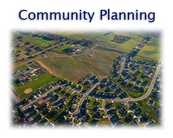 Community Planning text with aerial image of neighborhood
