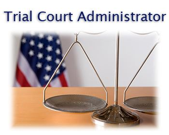 Trial Court Administrator text with image of scales