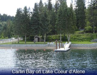 Image of lake and dock at Carlin bay