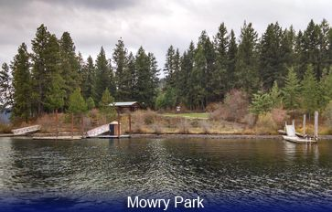 Image of lake and dock at Mowry Park