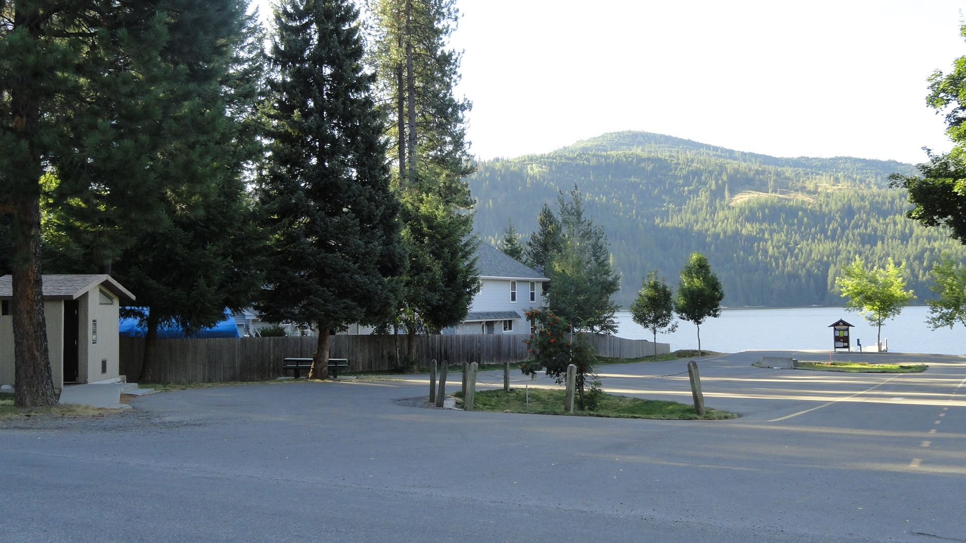 Parking lot beside lake