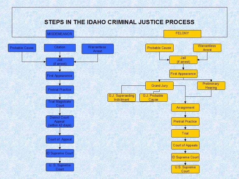 Criminal Justice Process flowchart for misdemeanors and felonies